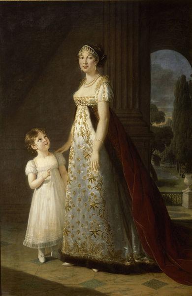 Marie-Annunciade-Caroline Bonaparte, Königin von Neapel (1782-1839), 1807. Öl auf Leinwand, 217 x 143 cm. Musée national des châteaux de Versailles et de Trianon, Versailles.