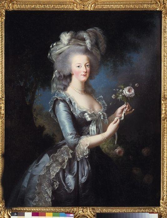 """""""Portrait a la rose de Marie Antoinette de Lorraine Habsbourg, reine de france (1755-1793)"""", peinture de Marie Elisabeth Louise Vigée Le Brun (ou Vigée-Lebrun ou Vigée Lebrun) (1755-1842), dim. 1,13x0,87 m, 18eme siècle - Versailles musée du Château."""