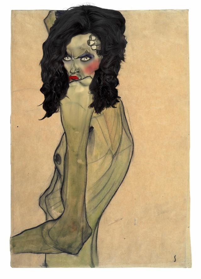 Egon Schiele, Self-Portrait with Arm Twisting above Head, 1910.