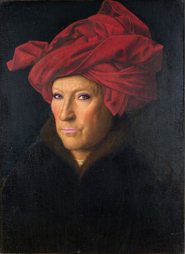 Jan van Eyck, Portrait of a Man (Self portrait?), 1433, National Gallery, London.