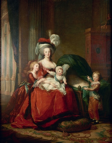 Marie Antoinette and Her Children, 1787, Le Brun's most important commission and intended to restore the queen's reputation, which it did not. Oil on canvas, 275 x 216.5 cm. Musee National des Chateaux de Versailles et de Trianon, France (MV 4520). © RMN-Grand Palais/Art Resource, NY.