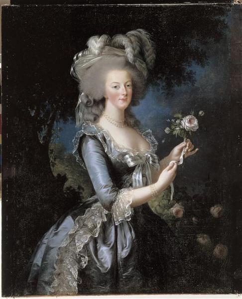 Vigée Lebrun, Marie-Antoinette à la rose, 1783, huile sur toile (113 x 87 cm), château de Versailles