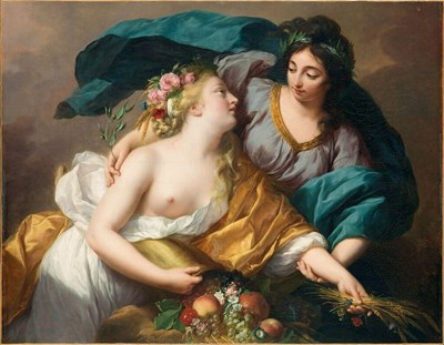 Peace Bringing Back Abundance, 1780, the history painting she submitted for admission to the Academie Royale de Peinture et de Sculpture, Oil on canvas, 102 x 133 cm. Musée du Louvre, Paris, Département des Peintures